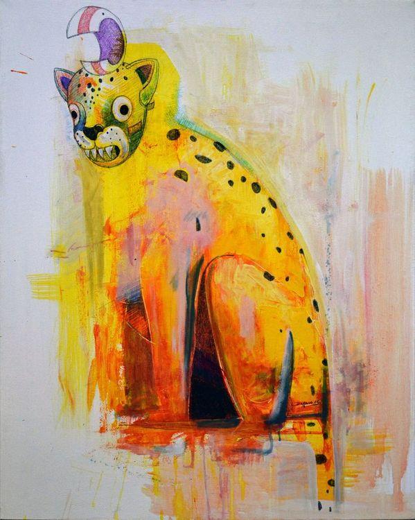 """1-""""Con la careta del Tigre"""", Daniel Iván Dorado, técnica acrílico. Premio revelación para artista menor de 30 años."""