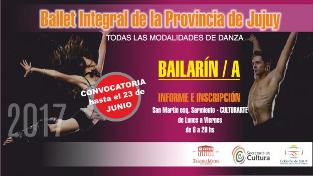 "CONVOCATORIA PARA SER BAILARÍN DEL ""BALLET INTEGRAL DE JUJUY"""