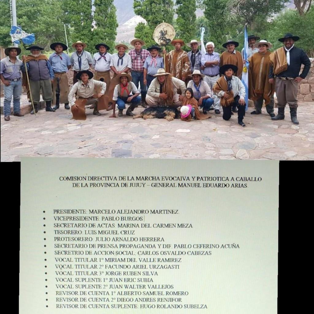 Comisión Directiva de la Marcha Evocativa y Patriótica a Caballo de la Provincia de Jujuy