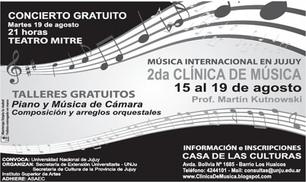 Concierto y Clinica de Música a cargo de Martin Kutnnowski