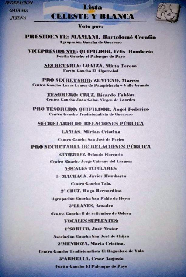 ELECCIONES EN LA FEDERACION GAUCHA JUJEÑA (2)