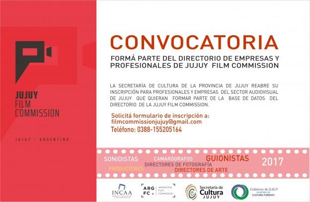 CONVOCATORIA PARA CONFORMAR EL DIRECTORIO DE EMPRESAS Y PROFESIONALES DE LA JUJUY FILM COMISSION