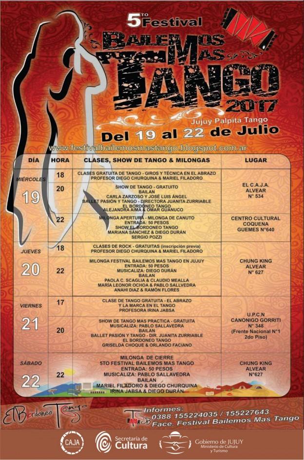 Folleto V Edicion de Bailemos más tango 2017