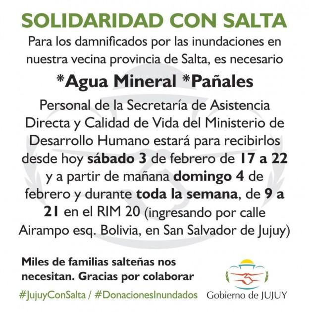 JUJUY JUNTO A LOS DAMNIFICADOS DE SALTA