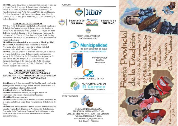 TRIFOLIO FINAL FIESTA PCIAL DE LA TRADICION 2014 - EN A CUATRO - 2014 -
